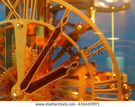 close up of vintage clock. select focus - stock photo
