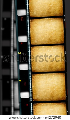 Close up of vintage movie film strips