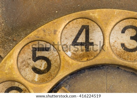 Close up of Vintage phone dial, dirty and scratched - 4 - stock photo