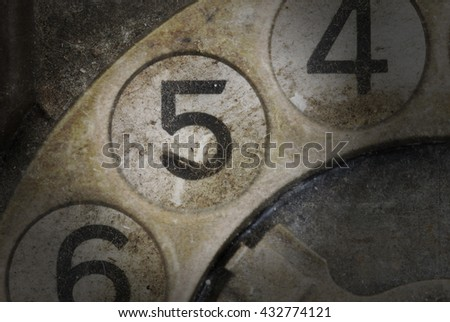Close up of Vintage phone dial, dirty and scratched - 5 - stock photo
