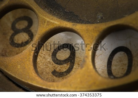 Close up of Vintage phone dial, dirty and scratched - 9, perspective
