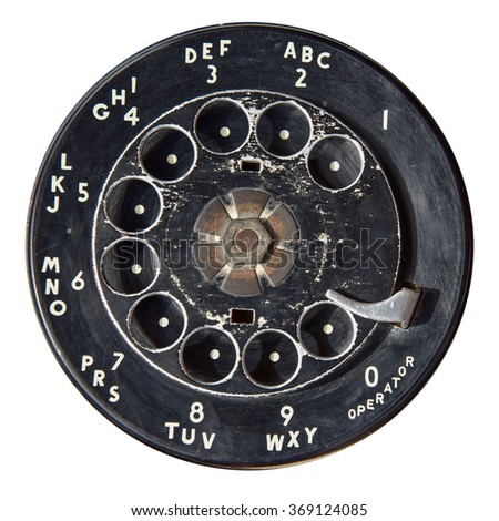 Close up of Vintage phone dial on white - stock photo