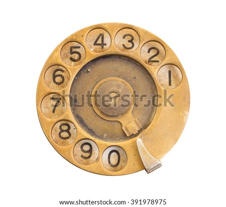 Close up of Vintage phone dial on white, gold - stock photo
