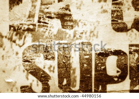 Close-up of vintage poster - stock photo