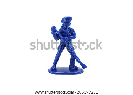 Close-up of vintage Prussian infantry army hold the gun toy figure. - stock photo