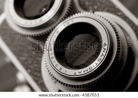Close up of vintage TLR camera - stock photo