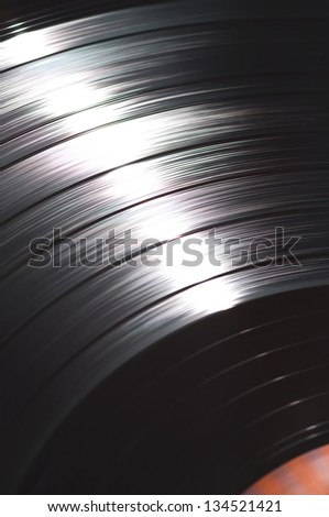 close up of vinyl LP record - stock photo