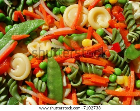 close-up of vitamin rich mixed pasta and vegetable salad - stock photo