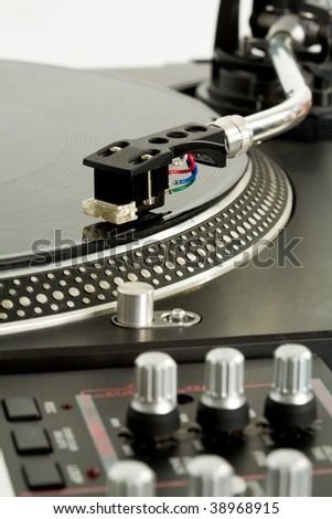 Close-up of vynil turntable playing
