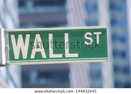 Close-up of Wall Street sign, New York City, NY - stock photo