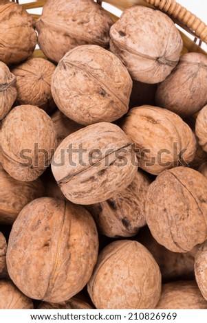Close up of walnuts. Macro on a Whole background