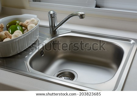 close up of washbasin in a kitchen - Kitchen Basin Sinks