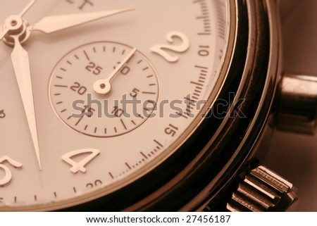 Close-up of watch with white clock face