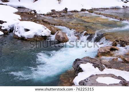 Close up of water flowing in early spring after a fresh snowfall - stock photo