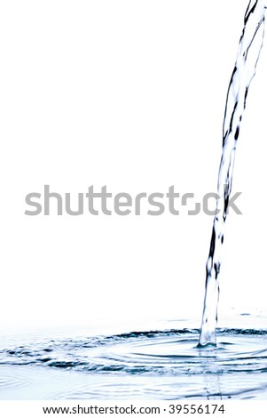Close-up of water in motion on white background - stock photo