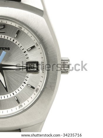 Close up of water proof watch on white background - stock photo