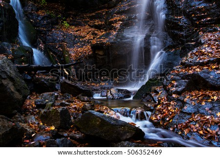 Close up of waterfall in Smoky Mountains National Park in east Tennessee