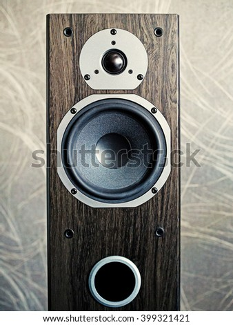 Close-Up of 2-way home stereo speaker, front view - stock photo