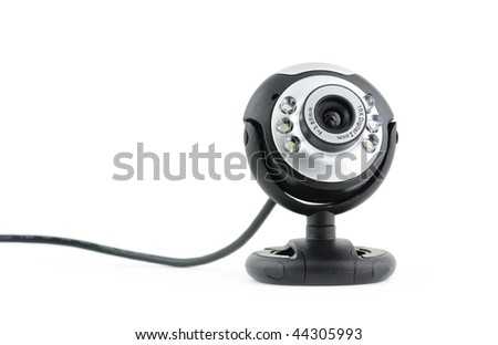 Close up of web cam in isolated white background