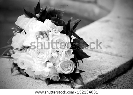 close up of wedding bouquet, black and white