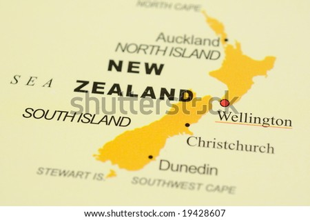 Close up of Wellington, New Zealand on map - stock photo