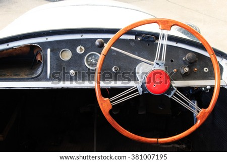 Close-up of Wheel Details of Vintage Car, Classic Car. - stock photo