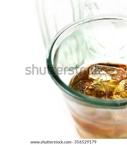 Close up of whiskey on ice, also known as Scotch On The Rocks against a white background with generous accommodation for copy space. Concept image for DUI or drink driving. - stock photo