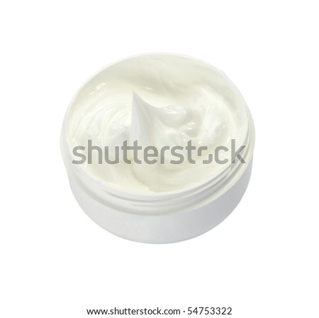 close up of white beauty cream on white background with clipping path