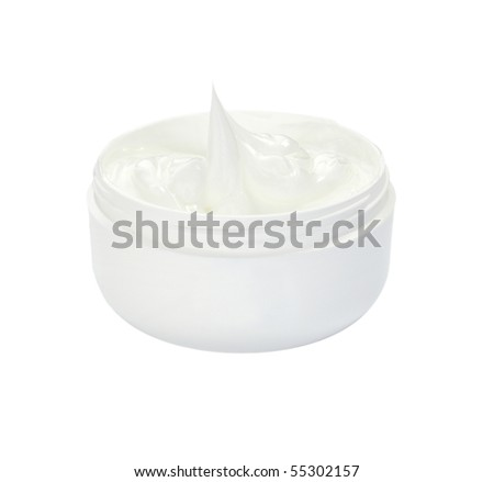 close up of white beauty cream on white background with clipping path - stock photo