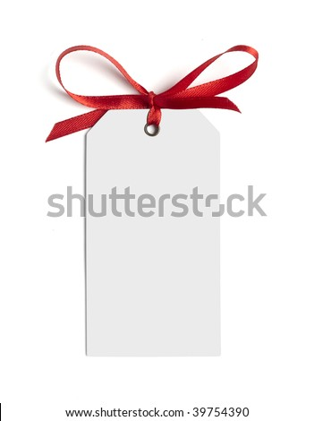 close up of white card note with  red ribbon on white background on white background - stock photo