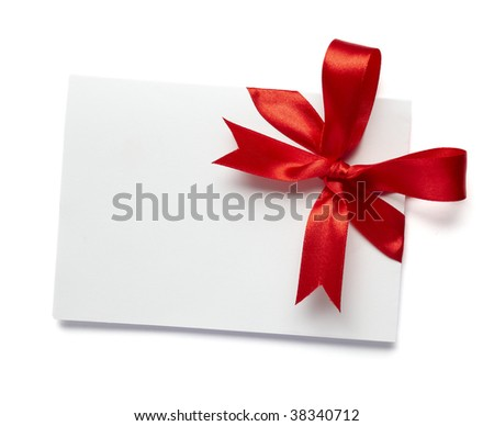 close up of white card note with  red ribbon on white background on white background with clipping path - stock photo
