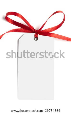 close up of white card note with  red ribbon on white background on white background with clipping path
