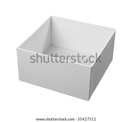 close up of white carton  box  package on white background with clipping path - stock photo