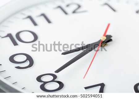 Close up of white clock face,Watch the show at eight o'clock and forty minutes,macro.