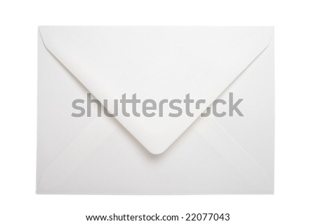close up of white envelope on white background with clipping path
