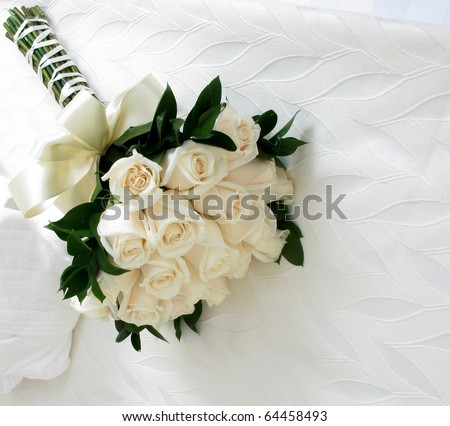 Close up of white flowers in the bed - stock photo