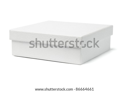 Close up of white gift box on isolated background