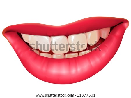 close up of white isolated vector style woman smile
