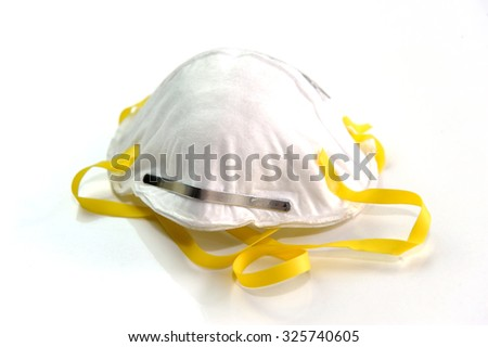 Close up of white mask isolated on white background.  - stock photo