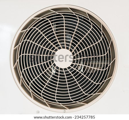 Close-up of white metal air conditioner. - stock photo