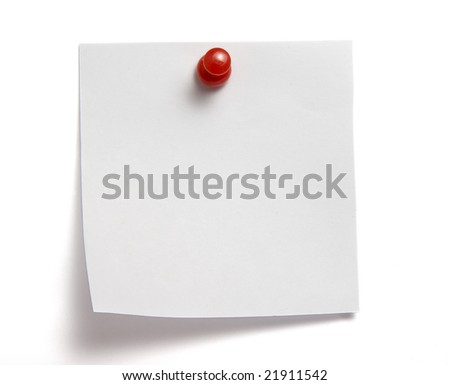 close up of white note pad reminder on wall, with clipping path - stock photo