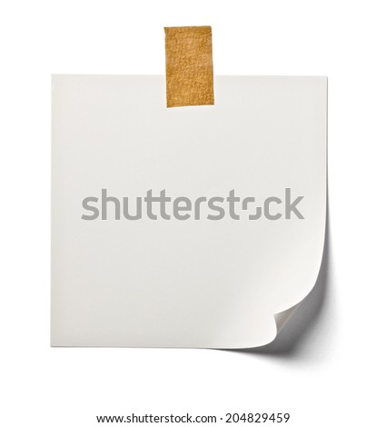 close up of  white note paper on white background with clipping path