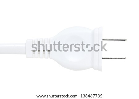 Close up of white plug isolated on white. - stock photo