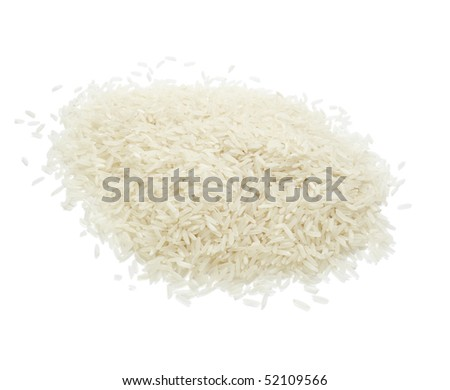 close up of white rice cereal food on white background with clipping path - stock photo