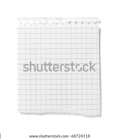 close up of  white ripped piece of paper on white background  with clipping path