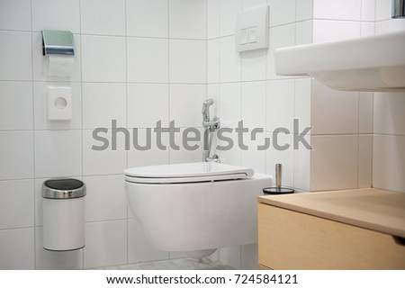 Close up of white toilet in modern washroom. Washroom Stock Images  Royalty Free Images   Vectors   Shutterstock