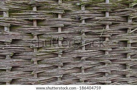 Close up of wicker fence - background - stock photo