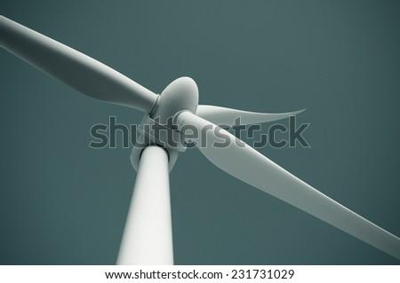 Close up of wind turbine - stock photo