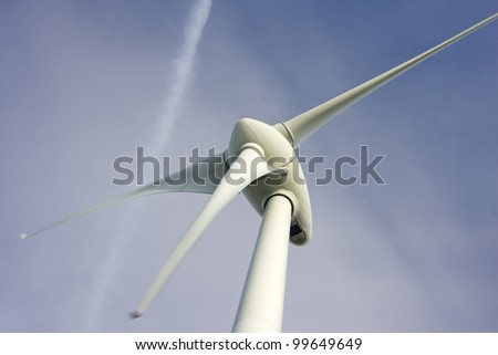 Close up of wind turbine - stock photo