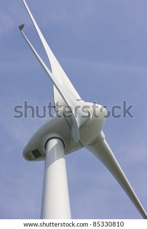 Close up of Wind turbine producing alternative energy